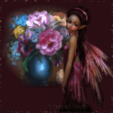Анимация Девушка ангел с цветами