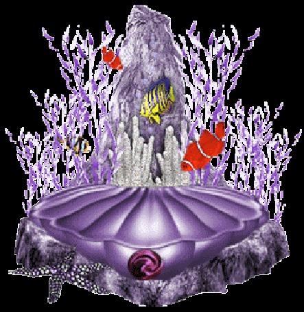 Анимация Русалка прячется в ракушке с жемчужиной среди кораллов и рыб