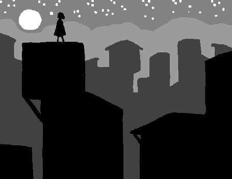 Анимация Девушка стоит на крыше дома на фоне ночного города
