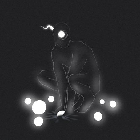 Анимация Человек и светящиеся шарики