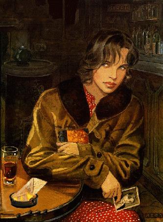 Анимация Девушка в пальто сидит у стола, держит в руке фото мужчины, на столе пепельница с горящим конвертом и бокал вина