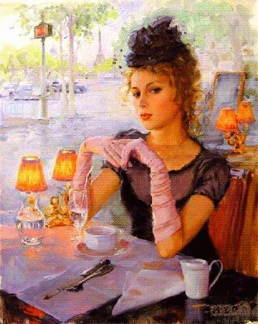Анимация Девушка сидит за столиком с чашечкой кофе (mira)