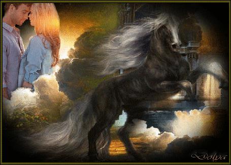 Анимация На фоне неба и облаков стоит влюбленная пара, на переднем плане вороной конь