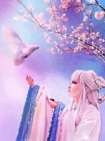 Анимация Девушка и голубь возле розовой сакуры, lazyrit (© Ксюшечка), добавлено: 18.10.2015 10:41