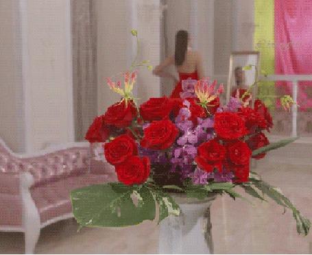 Анимация Девушка в красном платье позирует перед зеркалом, на красный цветок падает капля воды