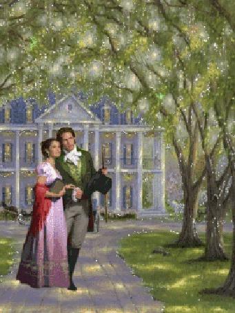 Анимация Мужчина и женщина разговаривают на фоне фасада красивого дома (© Ксюшечка), добавлено: 18.10.2015 16:51