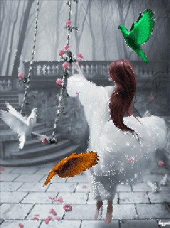 Анимация Девушка в нарядном платье стоит у качелей, на которых сидят два голубя, рядом с ней летают сказочные птицы, lazyrit (© Ксюшечка), добавлено: 19.10.2015 15:09