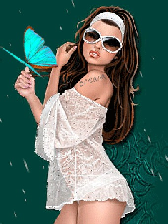 Анимация Модная девушка в очках держит голубую бабочку, стоя под дождем, Orsana