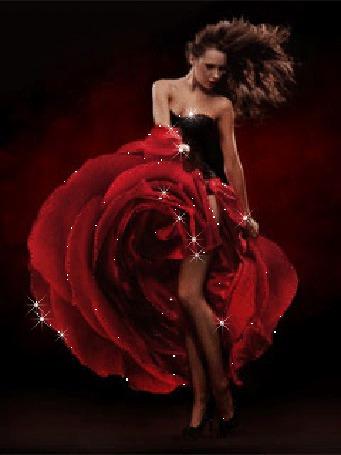 Анимация Соблазнительная шатенка в черно-красном платье на высоких каблуках