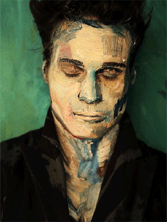 Анимация Портрет мужчины с закрытыми глазами. Художница Алекса Мид