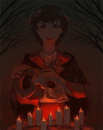 Анимация Девушка с черепом в руках стоит перед свечами (© Krista Zarubin), добавлено: 22.10.2015 11:32