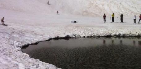 Анимация Мужчина открывает купальный сезон, переправляясь зимой на горных лыжах через незамерзающее озерцо (© Anatol), добавлено: 22.10.2015 18:26