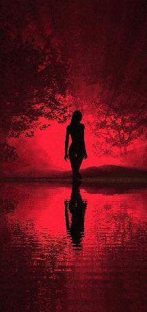 Анимация Силуэт девушки, которая стоит в воде (© zmeiy), добавлено: 22.10.2015 22:15