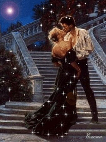 Анимация Мужчина и женщина целуются под Луной, стоя на лестнице, Елена