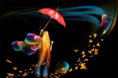 Анимация Девочка с воздушными шарами под порывами ветра