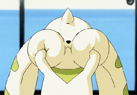 Анимация Забавное существо Терримон, массирует свои пухлые щеки, мультфильм аниме Дигимон