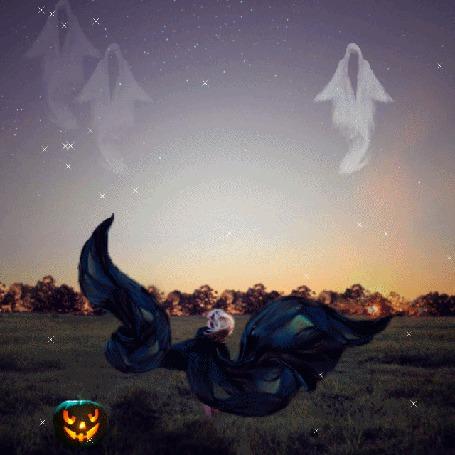 Анимация Ведьма призывает к себе потусторонние силы, светильник Джека отгоняет злых духов