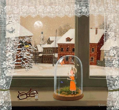 Анимация Девочка ловит бабочку в банке на фоне зимнего вида из окна, Мечты по лету, Mira