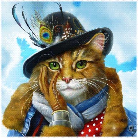 Анимация Роскошный модный кот со шляпой-гнездом на голове, Mira