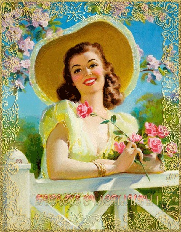 Анимация Девушка в шляпе с розами в руке (Будьте счастливы!) ЕН