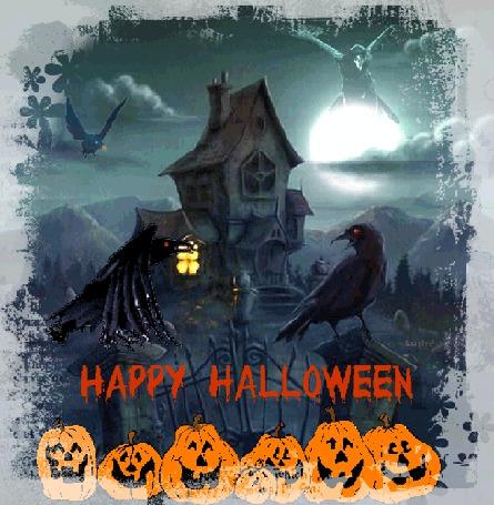 Анимация Светильники из тыквы на фоне ворон и старого дома (Happy Halloween), Lush@