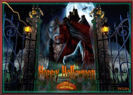 Анимация Праздник хеллоуин, на фоне замка, неба и луны, за воротами монстр протягивает руку (© ДОЛЬКА), добавлено: 27.10.2015 22:38