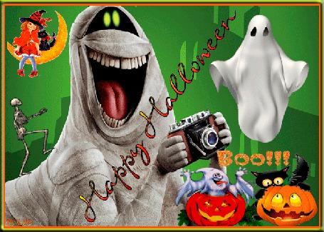 Анимация Праздник хеллоуин, на луне катается ведьмочка, привидение с фотоаппаратом, тыквы