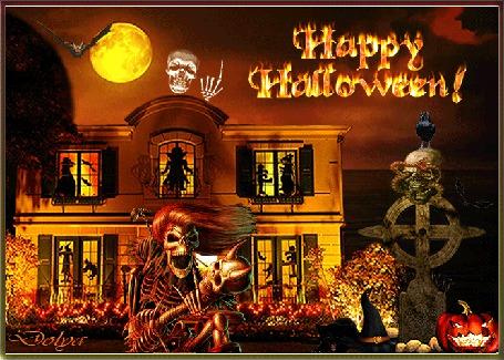 Анимация Праздник хэллоуин, на фоне неба, луны и моря стоит дом, возле дома скелет и голова со змеями на кресте