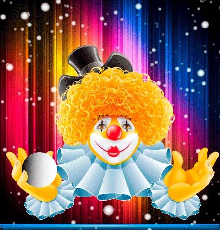 Анимация Рыжий клоун жонглирует белыми шарами