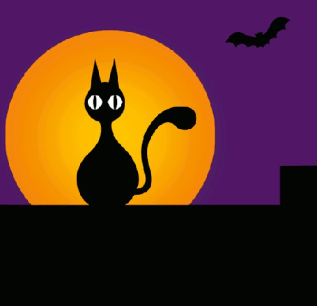 Анимация Моргающий котенок на фоне полной луны