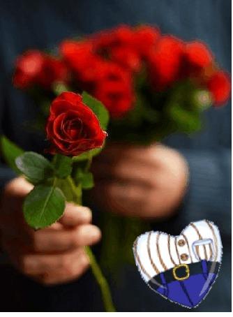 Анимация Букет роз. В одной руке мужчина держит букет, а в другой одну розу протягивает