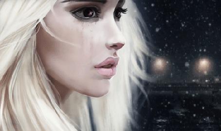 Анимация Светловолосая девушка плачет на фоне падающего ночного снега