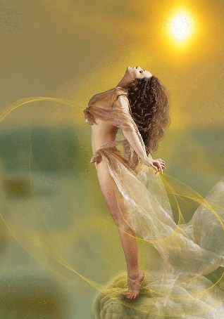 Анимация Девушка, освещенная солнцем