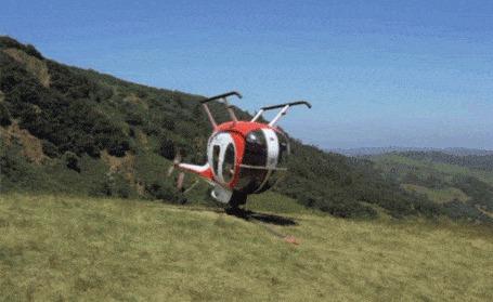 Анимация Вертолет вращается на земле вверх тормашками