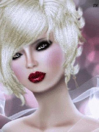 Анимация Гламурная блондинка смотрит любопытным взглядом, SN
