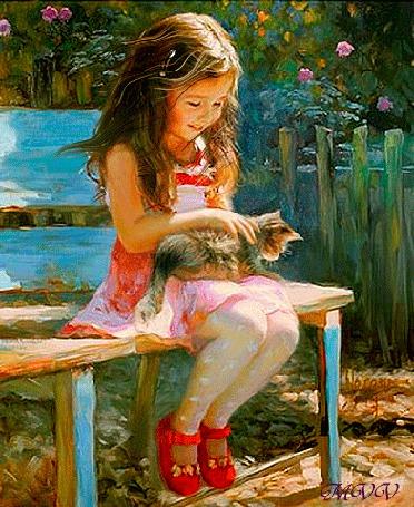 Анимация Девочка с развевающимися от ветра волосами, сидит на скамейке и нежно гладит сидящую у нее на ногах кошку, MVV
