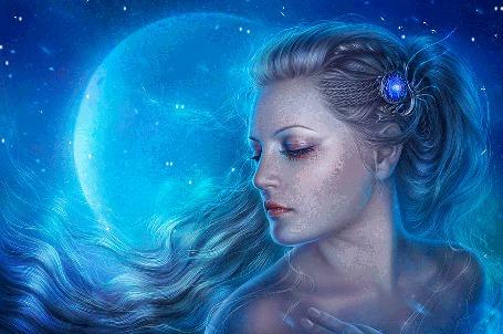 Анимация Девушка с голубой заколкой в волосах и голубая Луна
