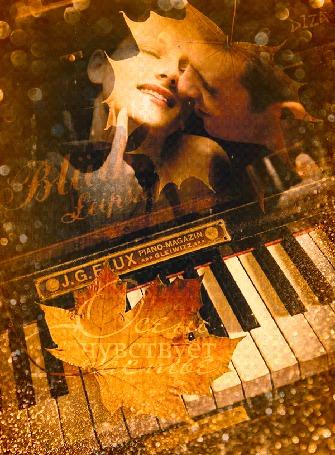Анимация Парень целует девушку на фоне падающих капель дождя, осенних листьев и клавиш пианино, (Осень чувствует счастье), автор DIZA