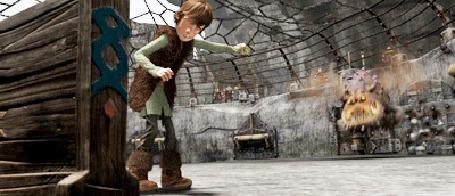 Анимация Иккинг играет с драконом камнеедом Громмелем (Сарделькой), мультфильм Как приручить дракона 2 / How to Train Your Dragon 2