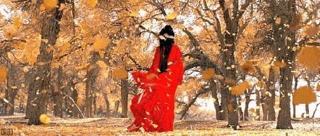 Анимация Девушка в красном платье стоит под падающей осенней листвой (© zmeiy), добавлено: 08.11.2015 11:24