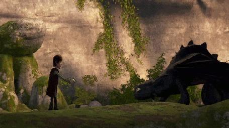 Анимация Иккинг подзывает к себе Дракона Беззубика, заманивая его аппетитным лососем, мультфильм Как приручить дракона / How to Train Your Dragon