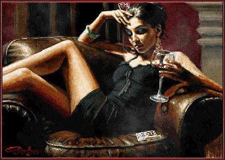 Анимация На кресле сидит грустная девушка с бокалом вина в руке и курит сигарету