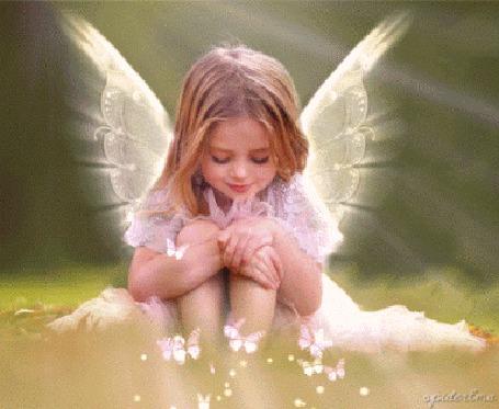 Анимация Девочка - ангел смотрит на бабочек (© zmeiy), добавлено: 16.11.2015 17:35