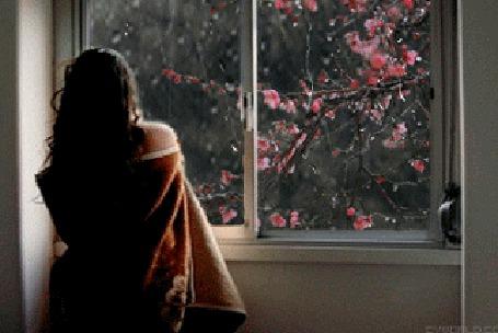 Анимация Девушка стоит у окна, за которым идет дождь