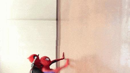 Анимация Человек - паук забирается вверх по отвесной стене, но его вдруг лихо обгоняет собака - паук (© Anatol), добавлено: 19.11.2015 00:51