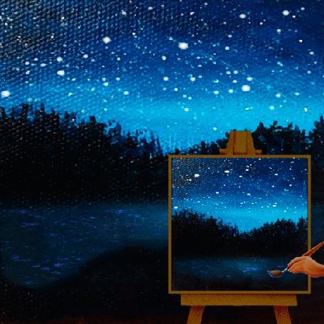 Анимация Звездной ночью на пленэре (© Миропия_Мира), добавлено: 20.11.2015 12:53