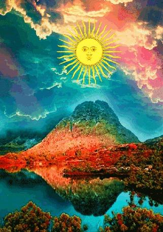Анимация Странное солнце на мигающем рисунке раскрашивает все вокруг радужными красками (© Anatol), добавлено: 22.11.2015 15:12