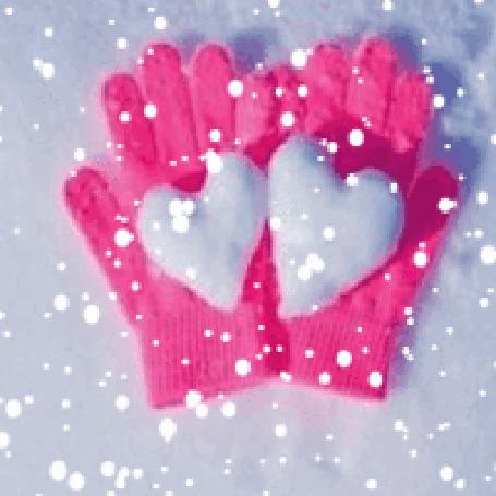 Анимация Перчатки с сердечками под снегом (© zlaya), добавлено: 22.11.2015 21:55