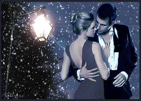 Анимация Мужчина и девушка стоят под фонарем, идет снег, Dolga