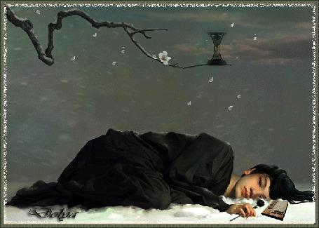 Анимация На фоне неба, облаков, пурги лежит на снегу грустная девушка с цветком черной розы в руке, рядом лежит фотоальбом. На ветке сакуры песочные часы показывают как быстротечна жизнь